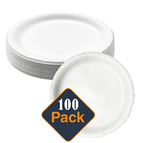 9in.MVP White Disposable Plastic Plates - Microwave Safe - Soak Proof - Hot or Cold 100 Per Package Birthday 9' Dinner Plates
