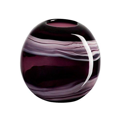 CRISTALICA Blumenvase Kugelvase Glas Vase Lunara Violett 18,5 cm Glas Tischvase Tischdeko Hochzeitdeko