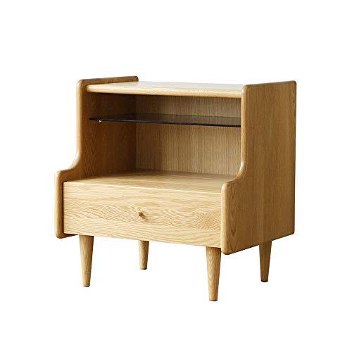 Table de chevet, bois massif nordique simple style moderne chambre meubles journal de stockage chêne mini lit côté petit cabinet
