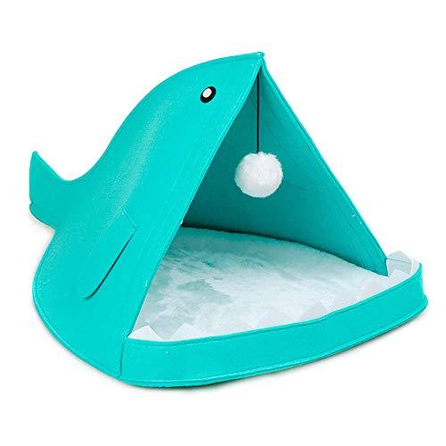 Ygccw Memory Foam Pluche Hond Bedden Hondenmand Bed Dekens Lounger Huisdier benodigdheden Schattig visvormig vilt nest verwijderbare en wasbare haai kat nest blauw 40 * 60 * 40cm