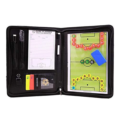 Createjia Fußballtrainer-Vorstand Magnetisches Multifunktions-Coaching-Strategie-Board-Kit Faltbarer Fußball-Basketball-Volleyball-Lehrteller-Buchsatz 25x34cm Schwarz