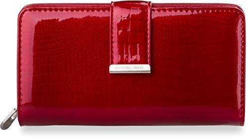 große Damen – Geldbörse Jennifer Jones lackiertes Leder (Rot)