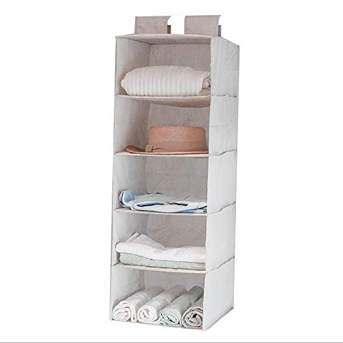 ROGF Travel Storage Bag 5 Layers Hanging Closet Shower Caddies Hanging For travel (Color : Gray)