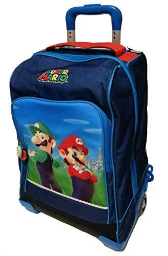 Schulrucksack Trolley Super Mario und Luigi Version Deluxe Reise + Pfeife + Gratis Stift bunt