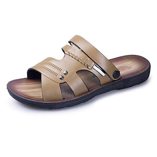 POOSCA Sandalias clásicas para hombre, estilo Oxford, de verano, para hombre, para playa, agua, deslizador, correa de piel sintética, puntera abierta, hermosas pantuflas (color: caqui, tamaño: 6,5)