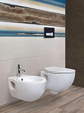Foto di Yellowshop-Sanitari Bagno Sospesi Filo Muro Modello Foxy Vaso Wc + Coprivaso Soft Close + Bidet