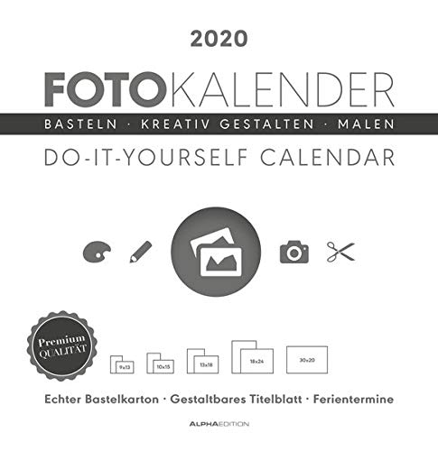 Foto-Bastelkalender weiß 2020 - Bastelkalender - Do it yourself calendar (32 x 33) - datiert - Kreativkalender - Fotokalender