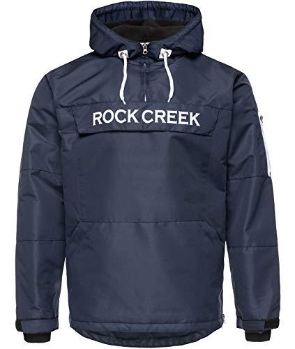 Rock Creek Herren Windbreaker Jacke Übergangsjacke Anorak Schlupfjacke Kapuze Regenjacke Winterjacke Herrenjacke Jacket H-167 Dunkelblau 4XL
