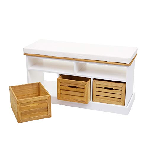 Mendler Sitzbank mit Staufächern HWC-G50, Polsterbank, Kissen Landhaus Aufbewahrungsboxen Fach 49x95x35cm, weiß-braun