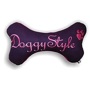 Hunde Spielzeug Kissen Knochen Hundeknochen Quitscher LILA VIOLETT Größe XXS XS S M L XL oder XXL mit Name Wunschname…
