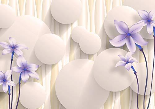 wandmotiv24 Fototapete lila dunkel blau Blumen 3D Kreise Effekt M 250 x 175 cm - 5 Teile Fototapeten, Wandbild, Motivtapeten, Vlies-Tapeten abstrakt M5330