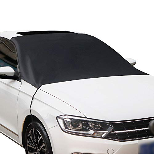 Botokon Car Windshield Snow Cover, Waterproof Frost Guard Winter Windshield Snow Ice Cover Protector with Magnetic Edges, Windproof Summer Windshield Sun Shade Fits Most Cars SUVs Vans (Front)