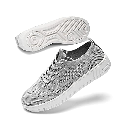 Womens Walking Tennis Casual Shoes - Lightweight Wide Mesh Running Jogging Canvas Sneakers for Gym Travel Work Grey