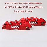 Cubiertas de la pinza 2 piezas de O 4PCS del freno de disco del coche cubierta del calibrador del freno de la cubierta 3D Rojo Ajustar a 14-18 pulgadas de coches 2 M y 2 S universal Kit for Brembo