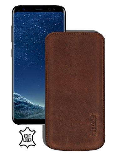 Suncase Original lederen etui voor Samsung Galaxy S8 Plus zakje ultra slim mobielzakje leren tasje beschermhoes case (met terugtrekglas), antieke koffie