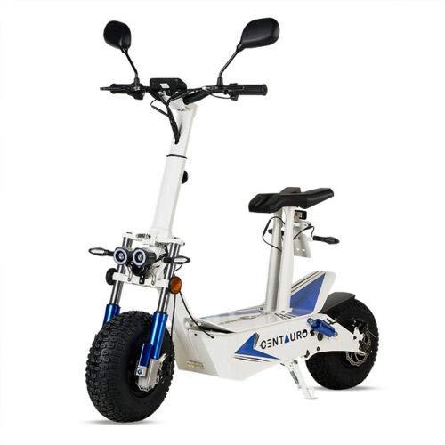 Virtuemart Patinete Scooter eléctrico matriculable homologado Ecoxtrem de 3000w 45-50 km/h Centauro patín Muy Potente con sillín y Plataforma en Color Blanco y Azul