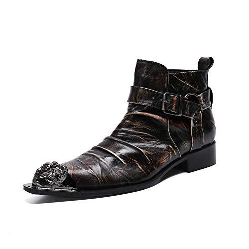 XER heren leren schoenen, Britse jeugd mode high-top puntige Martin laarzen, 37-46 maat, voor kappers, kantoren, feesten(zwart)