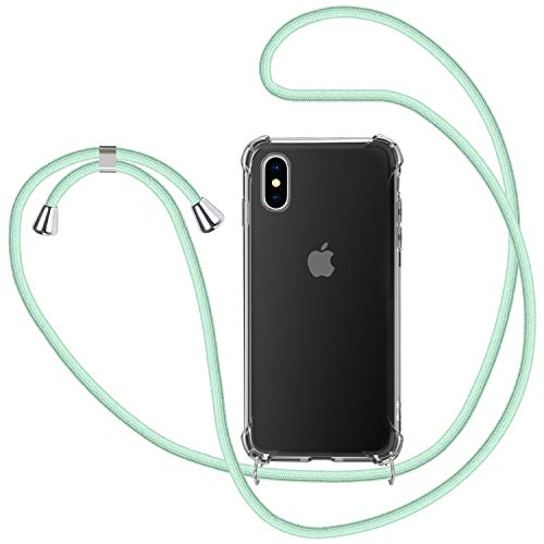 Funda con Cuerda para iPhone XS MAX, Carcasa Transparente TPU Suave Silicona Case con Correa Colgante Ajustable Collar Correa de Cuello Cadena Cordón para iPhone XS MAX - Verde Menta
