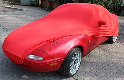 AMS Rote Vollgarage mit Spiegeltaschen für Mazda MX-5 TYP NA (1989-1998), schützende Autoabdeckung mit Perfekter Passform, hochwertige Abdeckplane als praktische Auto-Vollgarage