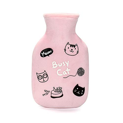 Hot Water Bottle,2Pcs/350Ml Rubber Water Injection Hot Water Bottle Thickened And Velvet Cartoon Cat Hand Warmer Girl Warm Palace Warm Baby