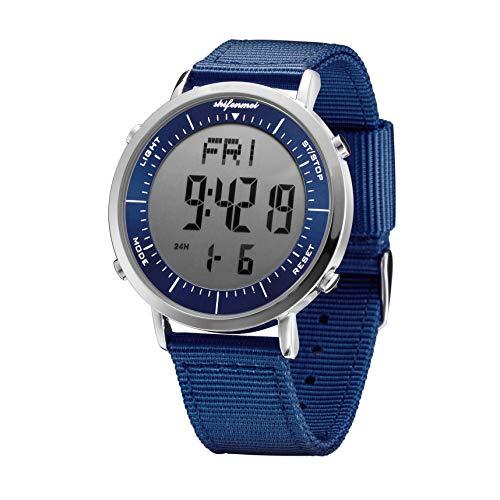 shifenmei Uhren Digital, Herren Digitale Armbanduhr Mit Alarm Stündlich Chime Stoppuhr 12/24H Datum EL Hintergrundbeleuchtung Outdoor Digitaluhr für Männer Damen Jungen (Blue-P)