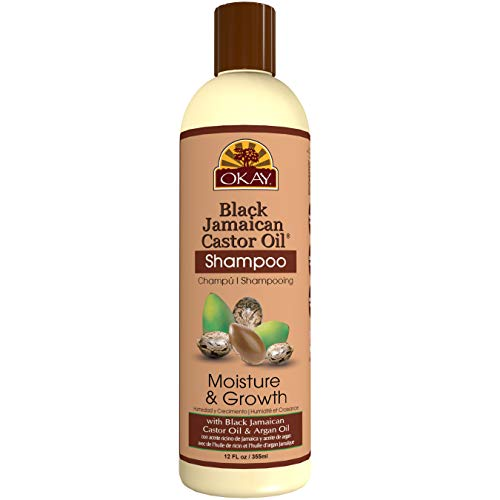 OKAY | Black Jamaican Castor Oil Shampoo | For All Hair Types & Textures | Repair - Moisturize - Grow Healthy Hair | with Argan Oil | Free Of Parabens, Silicones, Sulfates ,PALE YELLOW , 12 Oz