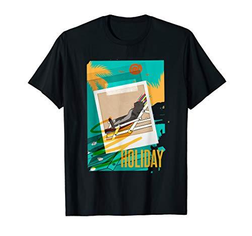Ferien Urlaub Katze Im Liegestuhl T-Shirt