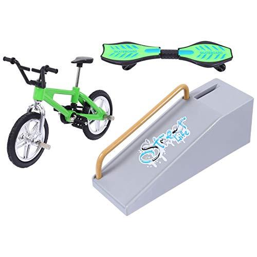 BESPORTBLE 1 Juego de Mini Juguetes de Dedo Juego de Parque de Skate Partes de Rampa de Dedo Divertido Bicicleta Dedo Skateboard Pequeño Columpio para Fiesta de Cumpleaños Regalos Pascua