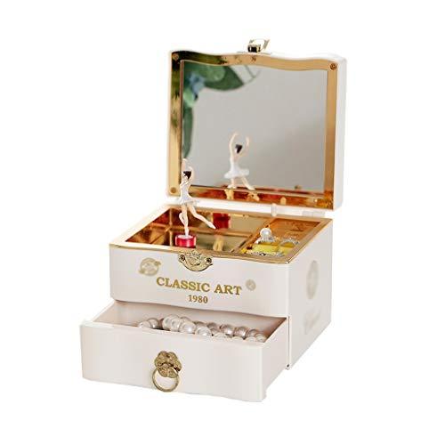 KGDC Spieluhr Süße Musik Schmuckschatulle mit ausziehen Schublade und drehen Ballett Mädchen Spieluhr Schmuck Aufbewahrungsbox Spieldose Musikspieldose (Color : White)
