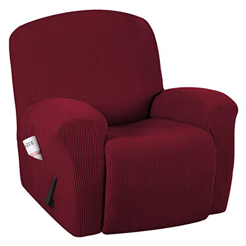H.VERSAILTEX Super Stretch Couch Covers Recliner Covers Recliner Chair Covers Form Fitted Standard Oversized Power Lift Reclining Slipcovers, Feature Soft Thick Jacquard, Wine Burgundy, 1 Pack