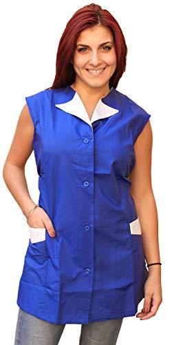 Petersabitidalavoro Camice da Lavoro per Donna Casacca Vestaglina Giromanica Leggera Corta (s, Blu)