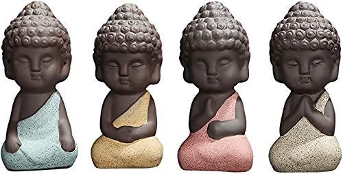 4 Pieces Traditional Cute Small Buddha Statue India Yoga Mandala Sculptures Monk Figurine Monk Tea Pet Decoration on Kungfu Tray