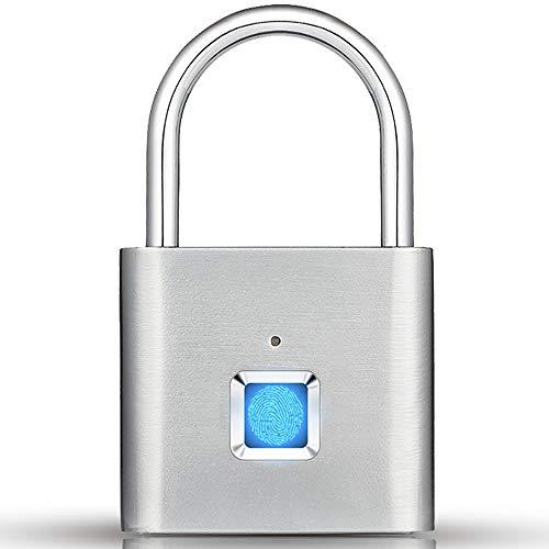 Fingerprint Gym Lock, IP65 Waterproof Fingerprint Padlock Keyless Security Smart Lock for Locker, Gym, Suitcase, School Employee, Bike, Door, USB Charging, Gift for Father's Day (Silver)