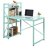 VECELO Computer Desk with Shelves 47 Inch Multipurpose Corner Study Writing Table with Storage Bookshelf for Home and Office, 47.2 L X 25.6 W X 47.2 H inches, Blue