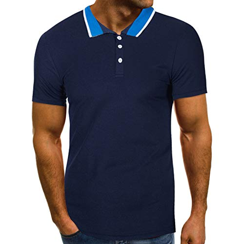 Men's Polo Shirt Short Sleeve Polo Tee Casual Button Lapel Slim Fit Basic Golf Tees Sport Polo T-Shirts Top Blouse