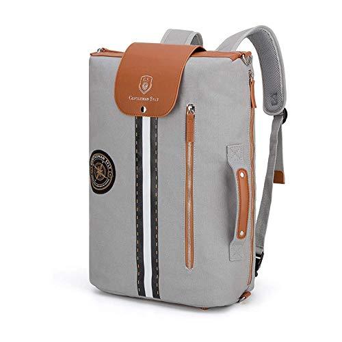 GENTLEMAN SYLT Laptoprucksack grau, Moderne Aktentasche mit Laptopfach, abnehmbare Riemen, Rucksack wasserabweisend 49x31x18cm