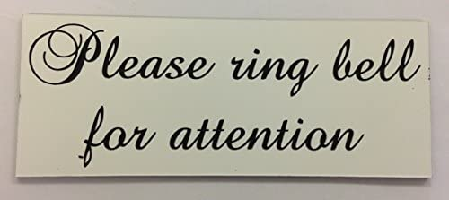 BLACK FSSS Ltd PLEASE RING BELL FOR ATTENTION ENGRAVED ACRYLIC SIGN 230x90x2mm OFFICE FACTORY RESTAURANT