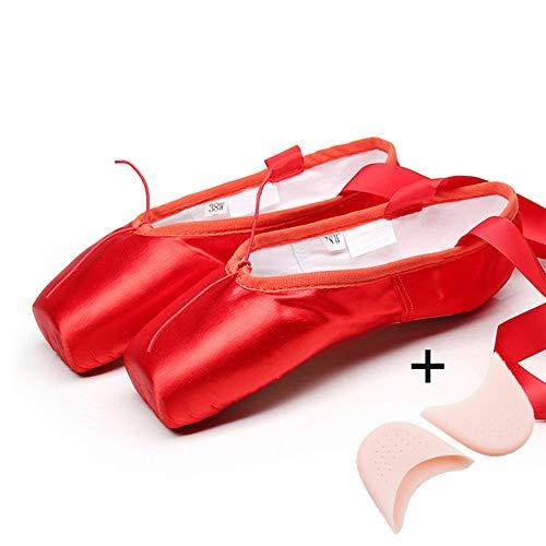 Mettime Zapatillas de Ballet de Punta Zapatos Satén Lienzo con Puntera de Gel de Silicona Esponja y Cintas para Niñas (por Favor Seleccione una Talla más Grande)