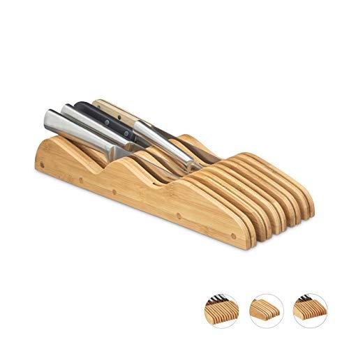 Relaxdays, flach, HxBxT: 6 x 14 x 40 cm, natur Messerblock Schublade, liegend, Bambus, für 9 Messer, HBT: 6x14x40 cm, Schubladeneinsatz