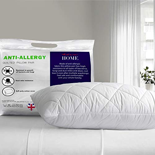 Adam Home Hotel Quality Quilted Pillow Super Firm Deluxe With Hollowfibre Filled Comfortable Soft Pillow