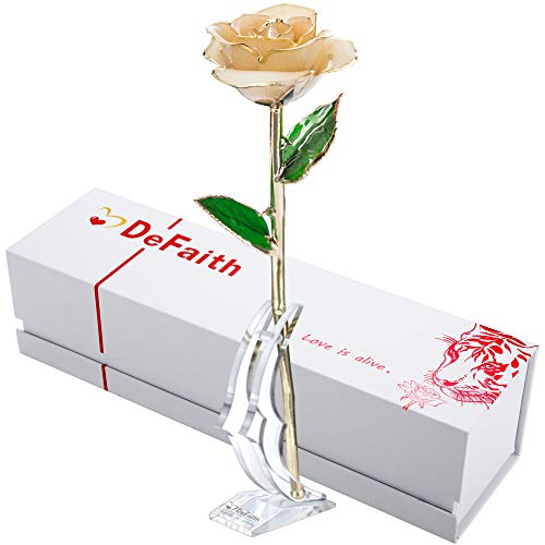 DEFAITH Real Rose 24K Gold Dipped, Forever Gifts for Her Valentine's...
