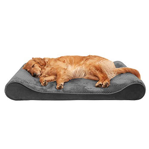 Furhaven Pet Dog Bed - Cooling Gel Foam Minky Plush and Velvet Ergonomic Luxe Lounger Cradle Mattress Contour Pet Bed with Removable Cover for Dogs and Cats, Gray, Jumbo