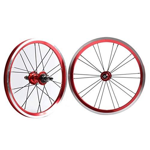 TYXTYX Ejes de liberación rápida Accesorio para Bicicleta BMX 406 Llanta Juego de Ruedas de Bicicleta de 20 Pulgadas Freno de llanta Rueda Delantera y Trasera de Bicicleta Plegable con piñón de 9 d