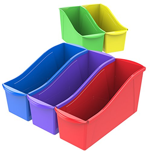Storex Large Book Bins, 14.3 x 5.3 x 7.1 Inches, Assorted Colors, 30-Pack