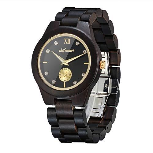 shifenmei Holzuhren für Damen, Holzuhren Japanisches Uhrwerk Leichte analoge...