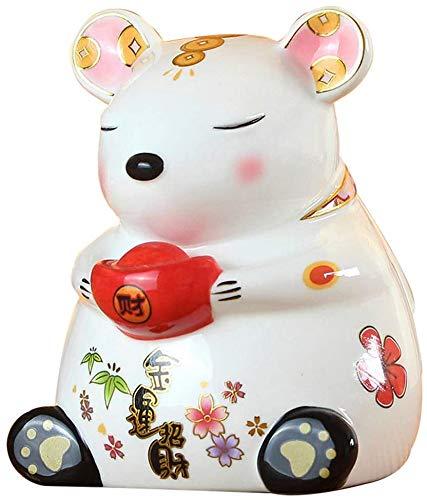 LULUDP-Decoración Decoraciones del zodiaco Rata estatuas de cerámica Piggy Bank, el chino Chinese ornaments decoración estatuilla Be applicable compatible Be applicable compatible Be applicable compat