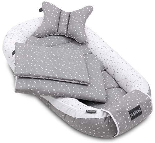 Bellochi 5 tlg. Baby Kuschelnest-Set - aus 100% Baumwolle - ÖKO-TEX zertifiziert - inkl Babynestchen 90x60 cm, Kuscheldecke, Kopfkissen, flaches Kissen mit Bezüge - Dunkelgrau