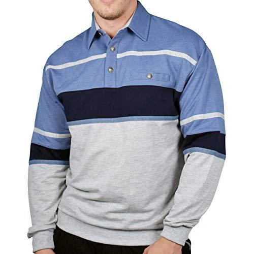 Classics by Palmland Horizontal Stripes Long Sleeve Banded Bottom Shirt (XXLarge, Blue HT)