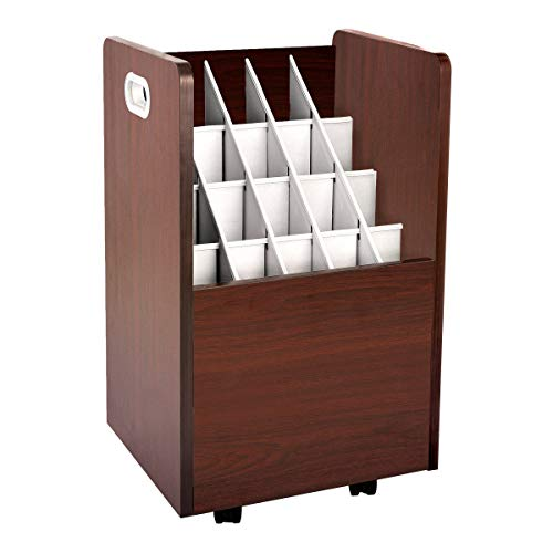 AdirOffice Mobile Blueprint Roll File Holder - Architectural Plan Storage Organizer for Home Office or School Use 20 Slots (Mahogany)