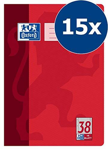 Oxford Schule Schulheft A4, kariert, gelocht & perforiert, Lineatur 38, 16 Blatt, rot, 15er Pack